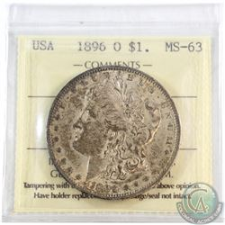 USA; 1896-O Silver $1 ICCS Certified MS-63