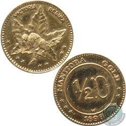 Scarce! ! Manitoba; 1898 $1/2 (50-cent) Manitoba Gold. This 22-karat Gold Token contains 0.06 oz of
