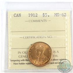 Canada 1912 $5 Gold ICCS Certified MS-62