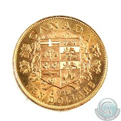 Canada 1912 $10 Gold Uncirculated Condition with Mint Lustre. Coin contains a noticeable mark on the