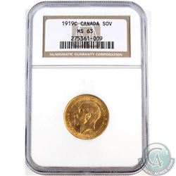 Canada; Gold 1919c Sovereign NGC Certified MS-63. Coin contains  0.2354 oz of Pure Gold.