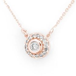 0.45 CTW Certified VS/SI Diamond Necklace 14K Rose Gold - REF-44A2X - 11460