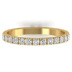 0.86 CTW Certified VS/SI Diamond Art Deco Eternity Band 14K Yellow Gold - REF-52M8H - 30326