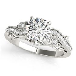 1.5 CTW Certified VS/SI Diamond Solitaire Antique Ring 18K White Gold - REF-488W5F - 27414