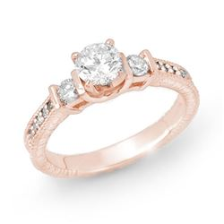 0.90 CTW Certified VS/SI Diamond Solitaire Ring 14K Rose Gold - REF-131X8T - 14259