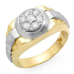 0.50 CTW Certified VS/SI Diamond Men's Ring 18K 2-Tone Gold - REF-118W2F - 14425
