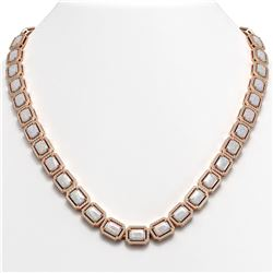 37.69 CTW Opal & Diamond Halo Necklace 10K Rose Gold - REF-748H4A - 41346