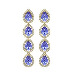 9.01 CTW Tanzanite & Diamond Halo Earrings 10K Yellow Gold - REF-193Y6K - 41149