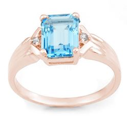 2.03 CTW Blue Topaz & Diamond Ring 18K Rose Gold - REF-35A5X - 11068