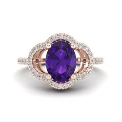 2 CTW Amethyst & Micro Pave VS/SI Diamond Ring 10K Rose Gold - REF-33H3A - 20969