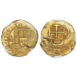 Mexico City, Mexico, cob 2 escudos, 1714J, NGC MS 64, ex-1715 Fleet (designated on label).