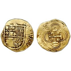 Seville, Spain, cob 2 escudos, Philip II, assayer Gothic D (with open right side) below mintmark S t