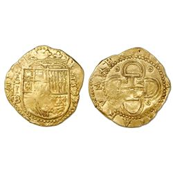 Seville, Spain, cob 2 escudos, Philip II, 1595 date to right, assayer Gothic B below mintmark S and