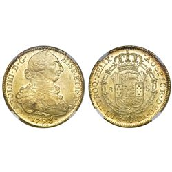 Santiago, Chile, bust 8 escudos, Charles IV (bust of Charles III), 1793DA, NGC MS 62, finest known i