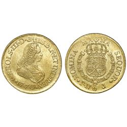 Popayan, Colombia, bust 8 escudos, Charles III (bust of Ferdinand VI), 1770J.