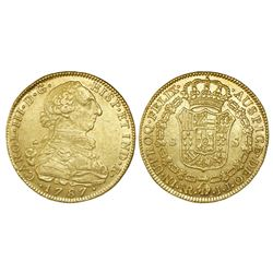 Bogota, Colombia, bust 8 escudos, Charles III, 1787JJ, dot between J's.