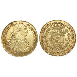 Popayan, Colombia, bust 8 escudos, Charles IV, 1797JF.
