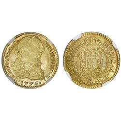Popayan, Colombia, bust 1 escudo, Charles III, 1776SF, NGC XF 45, finest known in NGC census.