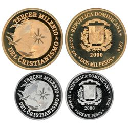 Two-coin set of Dominican Republic (struck at the Paris mint) proof 2000 pesos in gold (2 oz) and pl