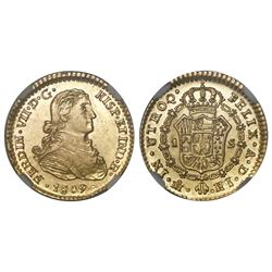 Mexico City, Mexico, bust 1 escudo, Ferdinand VII transitional (armored bust), 1809HJ/TH, NGC AU 58,