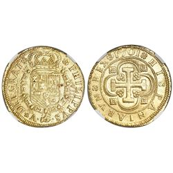 Seville, Spain, milled 8 escudos, Charles II, 1701M, S-M to left and VIII to right of shield, flower