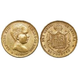 Madrid, Spain, 20 pesetas, Alfonso XIII (infant bust), 1889-MPM, with 18-89 inside six-point stars.