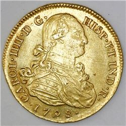 Popayan, Colombia, bust 8 escudos, Charles IV, 1798JF.