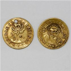 Lot of two Costa Rica 1/2 escudos, double lion countermark (Type VI, 1849-57) on Central American Re