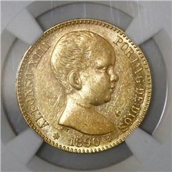 Madrid, Spain, 25 pesetas, Alfonso XIII (infant bust), 1890MP-M, with 18-90 inside six-point stars,