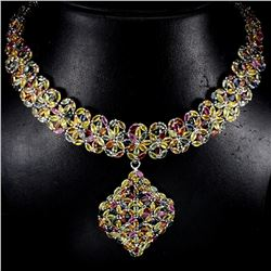 Natural Fancy Sapphire 563 Carats Necklace