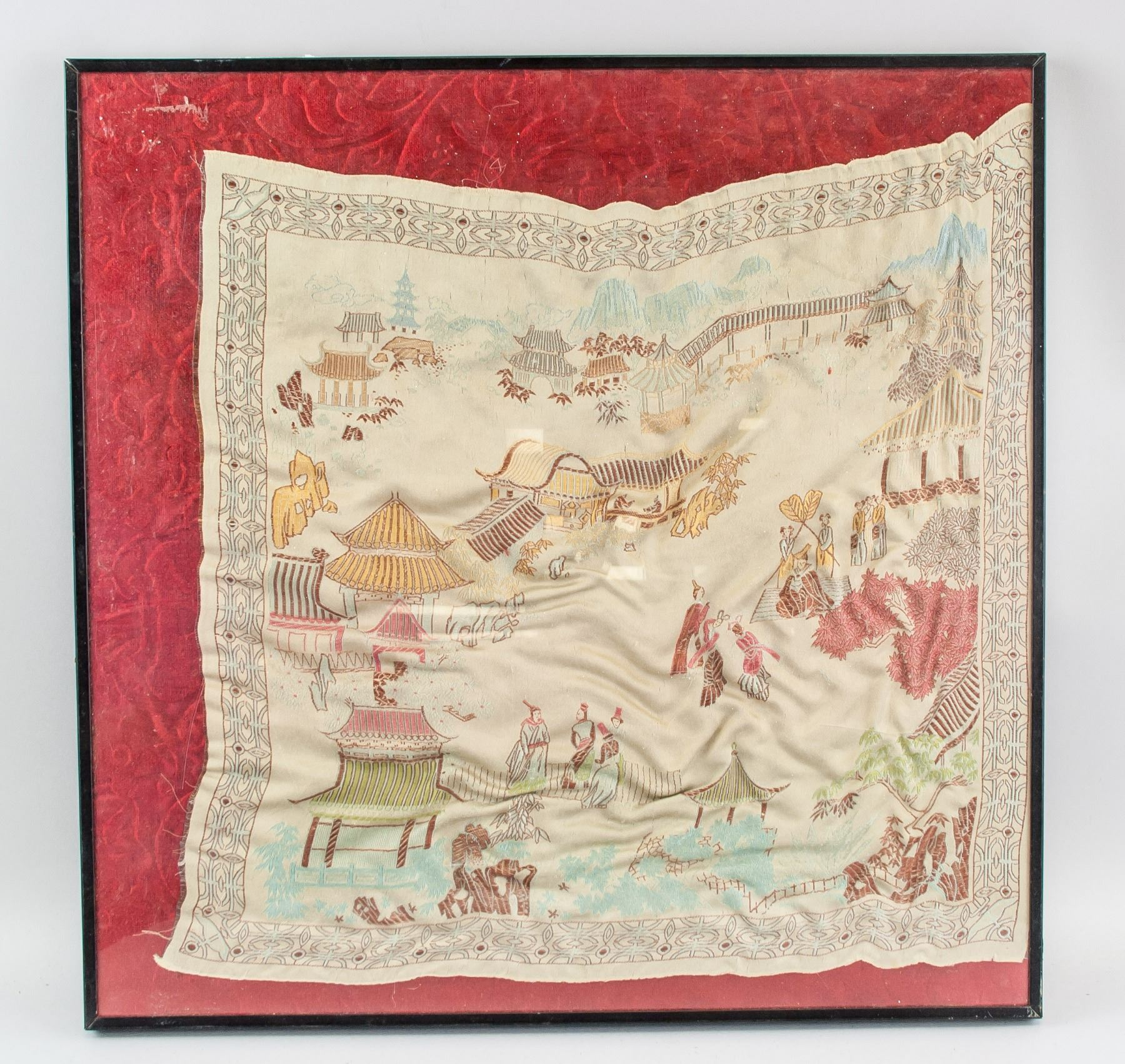 Chinese Embroidery Landscape Panel with Frame