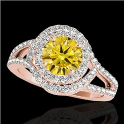 1.9 CTW Certified Si/I Fancy Intense Yellow Diamond Solitaire Halo Ring 10K Rose Gold - REF-209H3A -