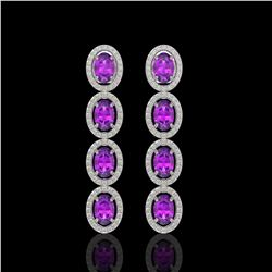5.56 CTW Amethyst & Diamond Halo Earrings 10K White Gold - REF-103H3A - 40541