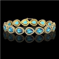 20.3 CTW Swiss Topaz & Diamond Halo Bracelet 10K Yellow Gold - REF-286N2Y - 41269