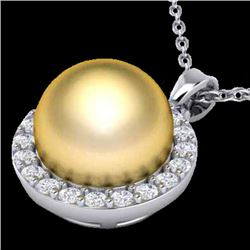 0.25 CTW Micro Pave Halo VS/SI Diamond & Golden Pearl Necklace 18K White Gold - REF-40K9W - 21563