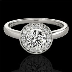 1.15 CTW H-SI/I Certified Diamond Solitaire Halo Ring 10K White Gold - REF-152M8H - 33463