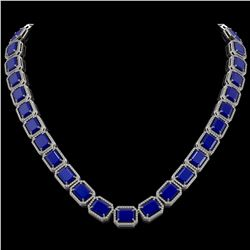 84.94 CTW Sapphire & Diamond Halo Necklace 10K White Gold - REF-859X5T - 41480
