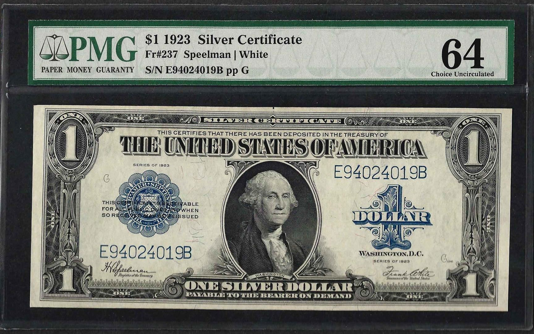 1923 1 Silver Certificate Note Fr237 Pmg Choice Uncirculated 64
