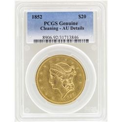 1852 $20 Liberty Head Double Eagle Gold Coin PCGS AU Details