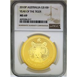 2010P Australia $100 Year of the Tiger Gold Coin NGC MS69