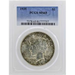 1935 $1 Peace Silver Dollar Coin PCGS MS65