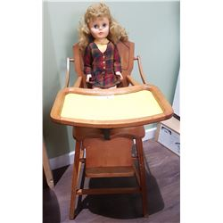 VINTAGE HIGHCHAIR W/DOLL