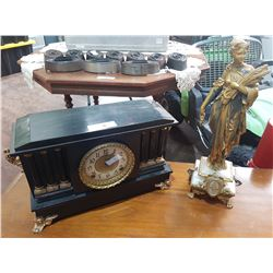 VINTAGE MANTLE CLOCK & ANTIQUE FRENCH FIGURAL STATUE