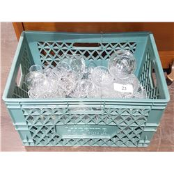 CRATE W/COLLECTIBLE GLASSWARE