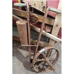 ANTIQUE WHEELBARROW WHEEL & SEEDER