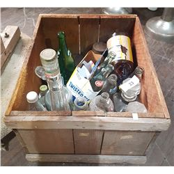 WOODEN CRATE W/MISC POP BOTTLES ETC