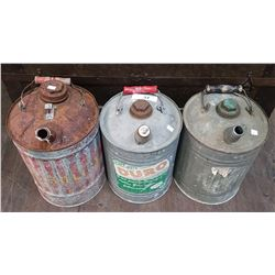 THREE VINTAGE GALVANIZED GAS CANS
