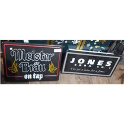 TWO LIGHT UP BEER & SODA SIGNS