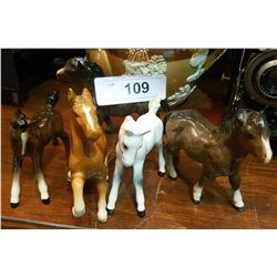 LOT OF 5 PORCELAIN HORSE FIGURINES