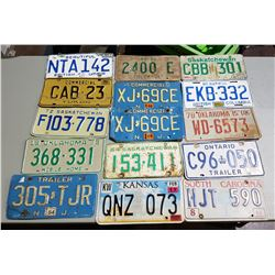 LOT OF APPROX 16 VINTAGE LICENSE PLATES